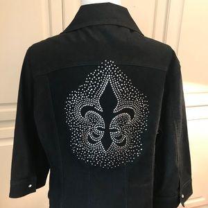 Black Denham Jacket with Fleur de lis rhinestones